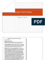 Sample Field Notes