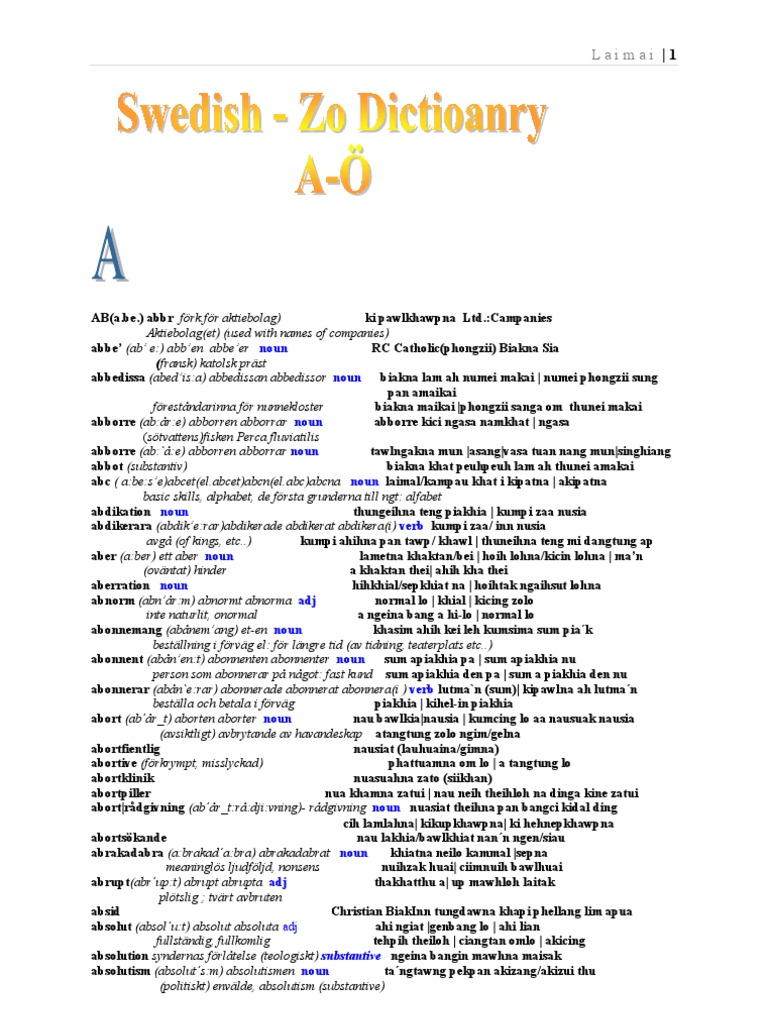 7af30abe0131 Svenska - Zo( Chin) Lexikon