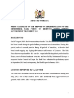 PRESS STATEMENT ON THE REPORT ON IMPLEMENTATION OF THE MINISTERIAL TASK FORCE ON LICENCES ISSUED DURING GOVERNMENT TRANSITION 2013