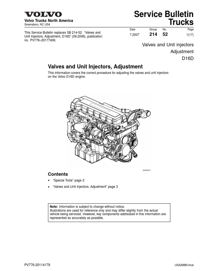 Valves And Unit Injectors, Adjustment Fuel Injection Nut (hardware) Volvo  D12 Engine Front Gears Volvo D12 Engine Diagram Air Valves