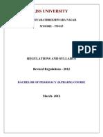 JSSU B.pharm Regulation and Syllabus 2012