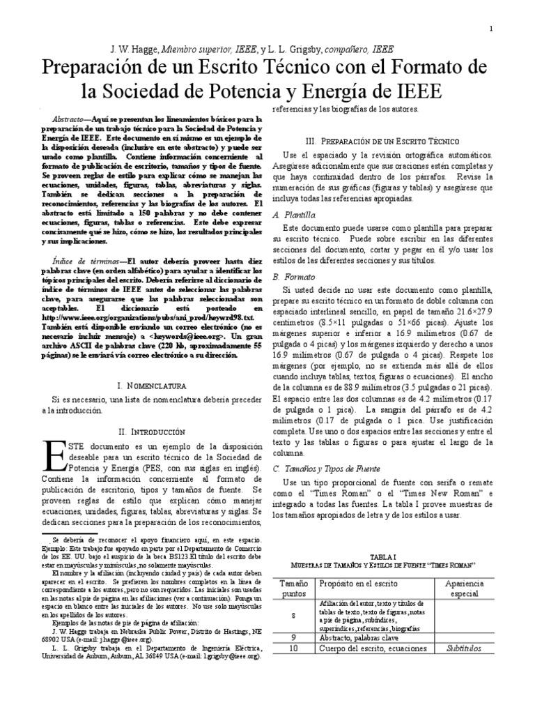 Preparación de Un Escrito Técnico Con El Formato de La Sociedad de ...