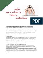 10 Consejos Para Definir Tu Futuro Profesional