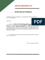 Certificado de Trabajo Taller Mecanico Jhosein
