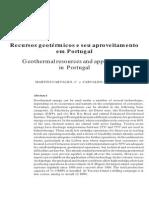 Recursos geotérmicos e seu aproveitamento em Portugal