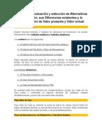 Métodos de Evaluación y Selección de Alternativas de Inversión