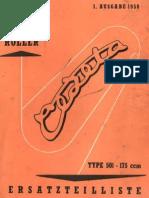 Jawa CZ 175 Type 501 Cezeta Parts List Manual 1958 (Ger)