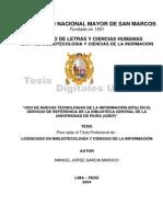 Uso de Nuevas Tecnologias en El Servicio de Referencia de La Biblioteca Central de La Universidad de Piura
