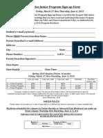 Junior Competitive Program Signup Form Spring 2015