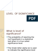 Levels of Significance