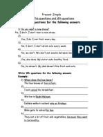 Present Simple Questions Worksheet