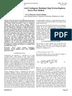 Sensitivity Based Network Contingency Ranking Using Newton Raphson Power Flow Method