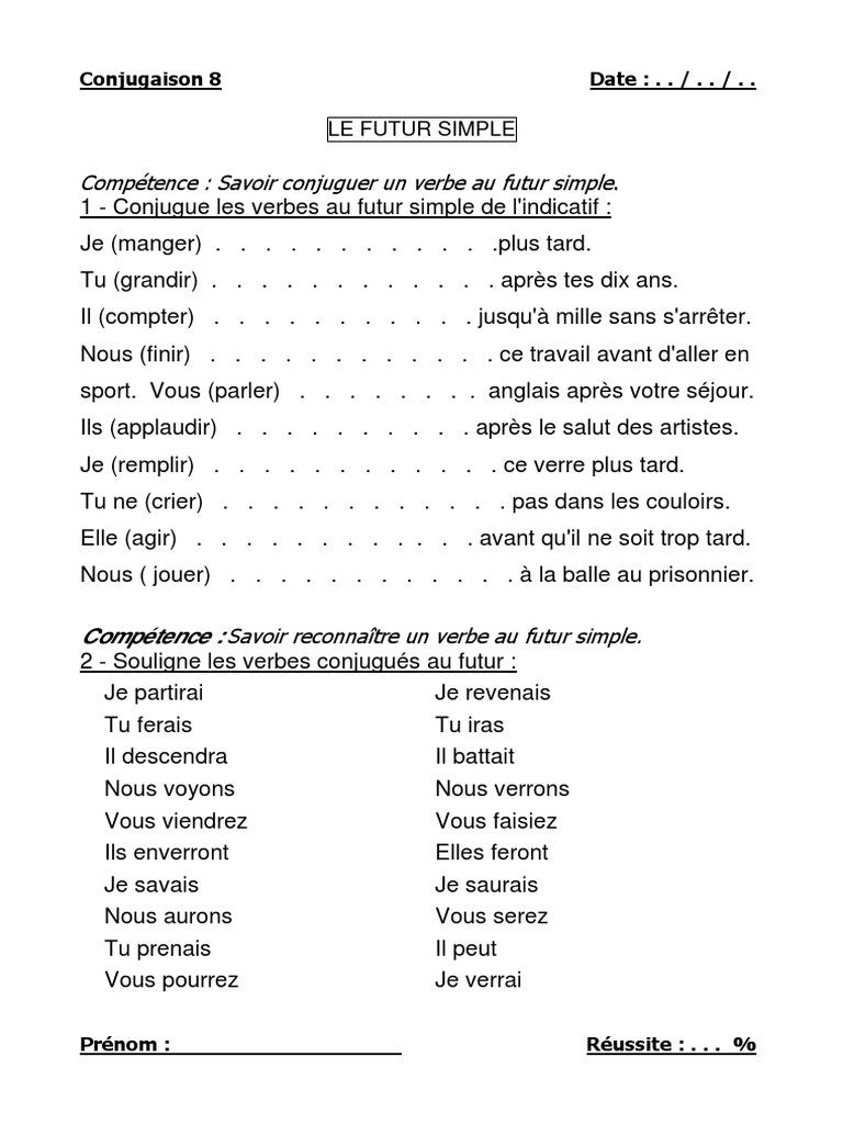 Competence Savoir Conjuguer Un Verbe Au Futur Simple Philologie Arts Du Langage Et Discipline