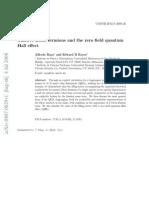 Massive Dirac fermions and the zero field quantum Hall effect
