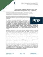 Dueñas califica de imprescindible la reforma del Código Penal para dar respuesta a las demandas más importantes de los ciudadanos.