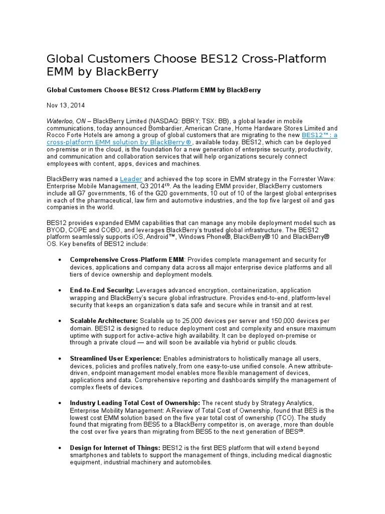20150204 Global Customers Choose BES 12 Cross-Platform EMM