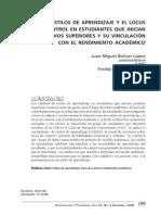 Estilos de Aprendizaje y Locus de Control y Su Relación Con El Rendimiento Académico Universitario