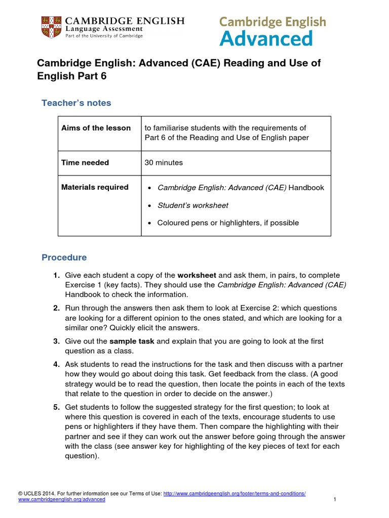 181561 Cambridge English Advanced Cae From 2015 Reading and Use of English  Part 6   Self Esteem   Economies