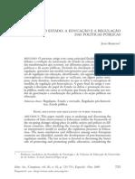 o Estado a Educação e a Regulação Das Políticas Públicas
