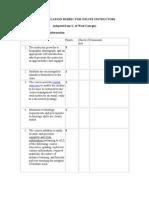 Peer Evaluation Rubric for Online Instructors