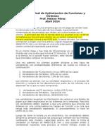 Proyecto Final de Optimización de Funciones y Sistemas - 2014