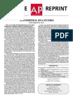 Major - Neanderthal DNA Studies