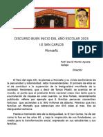 Discurso Buen Inicio del año escolar ¨San Carlos¨- Monsefu 2015