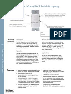 PW 100 PIR Watt Stopper | Electrical Engineering | Equipment Wattstopper Pw Wiring Diagram on