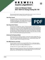 Mark 150, Kurzweil - Release Notes