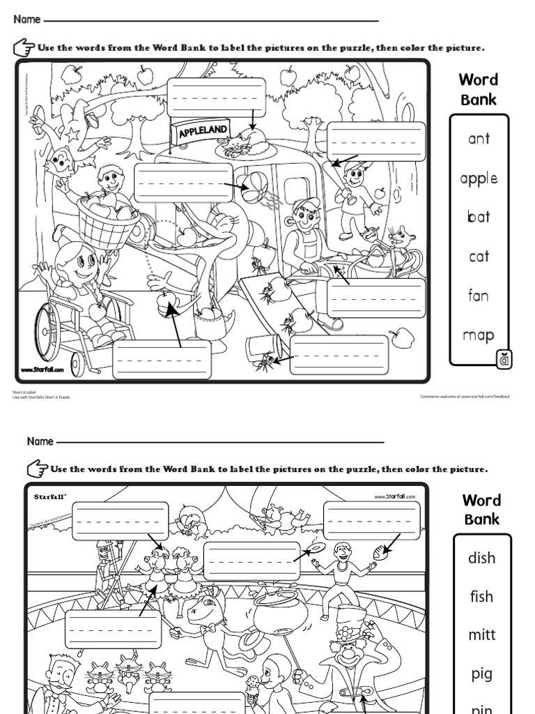Starfall Activity Pages | Word Search | Games Of Mental Skill