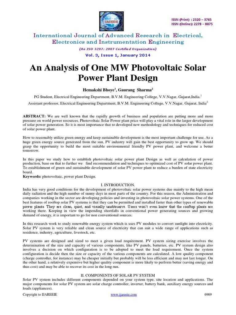 45 an Analysis | Photovoltaic System | Photovoltaics