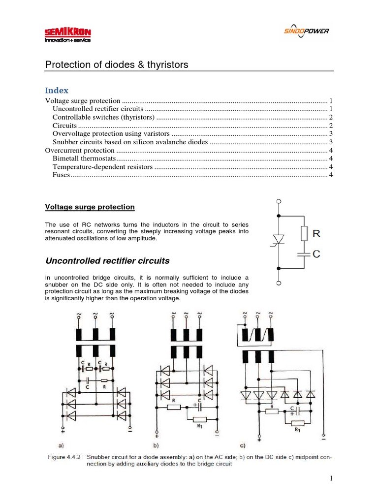 Protection Of Diodes Thyristors Electrical Network Rectifier Some The Basic Scr Circuits Thyristor And Circuit
