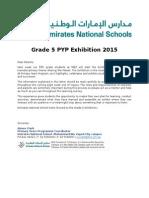 parent letter grade 5 pyp exhibition 2015