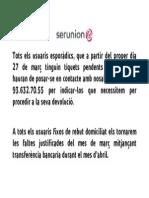 INFORMACIO DEVOLUCIO TIQUETS