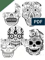 Plantilla calavera azteca