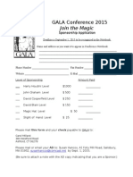 Sponsorship Application for GALA 2015 Conference
