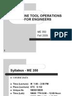 Machine Tool Operations Syllabus