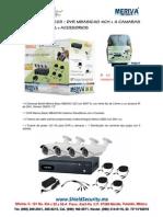 SHIELD SECURITY - MERIVA MBAS223 - DVR MBASIC40 4CH + 4 CAM BULLET 800TVL + ACCESORIOS