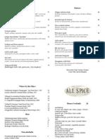 All Spice San Francisco - Opening Dinner Menu