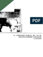 Afirmacion Radical Del Yo, Nietszche y Stirner