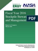 FY2016 Stockpile Stewardship and Management Plan