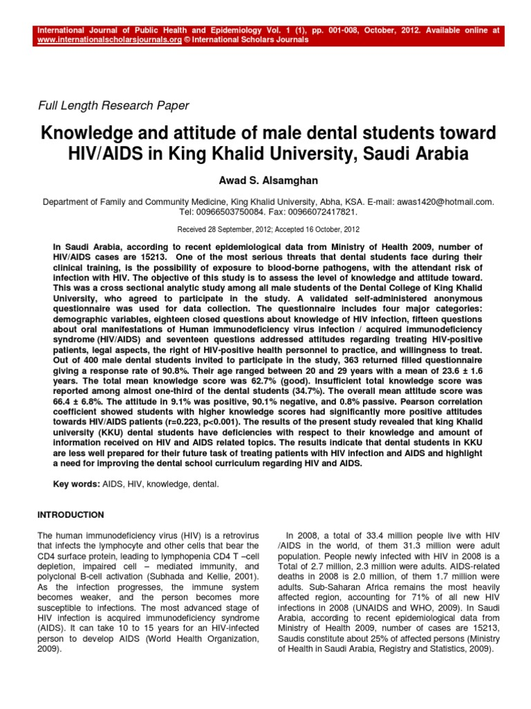 Knowledge and Attitude of Male Dental Students Toward HIV AIDS in King  Khalid University Saudi Arabia (2) | Hiv/Aids | Transmission (Medicine)