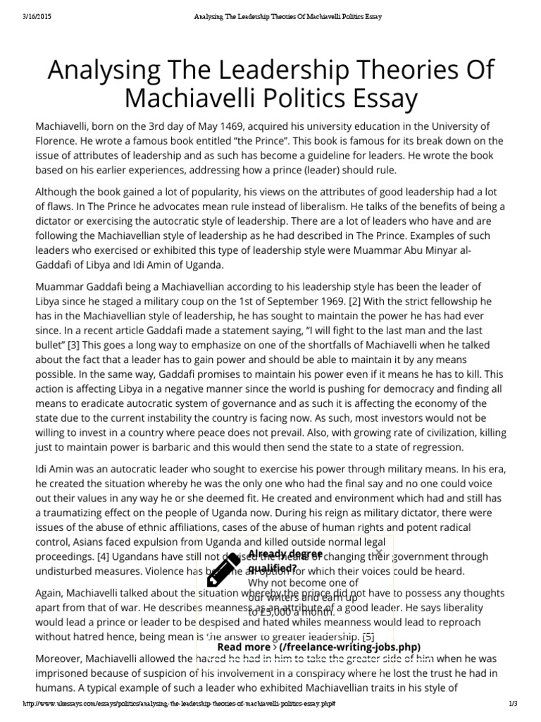 Search Essays In English Analysing The Leadership Theories Of Machiavelli Politics Essaypdf   Niccol Machiavelli  The Prince Analytical Essay Thesis Example also Library Essay In English Analysing The Leadership Theories Of Machiavelli Politics Essaypdf  English As A Global Language Essay