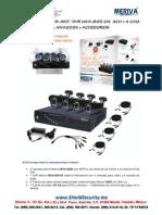 SHIELD SECURITY - MERIVA MVA845-4KIT- DVR MVA-845-08  8CH + 4 CAM BULLET 650TVL MVA202K + ACCESORIOS