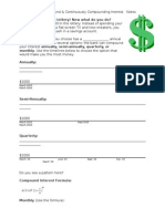 Compound & Continuously Compounding Interest Notes