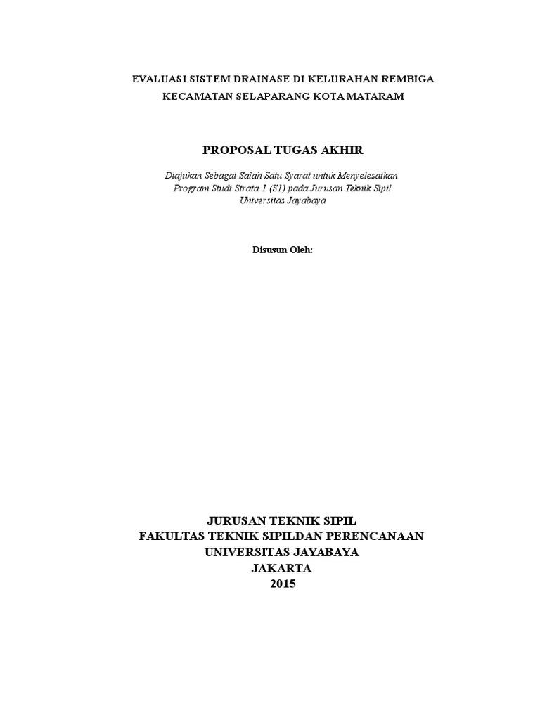 Conto Proposal Evaluasi Sistem Drainase Di Kelurahan