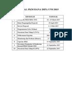 Jadwal Kegiatan Pkm Dipa 2015