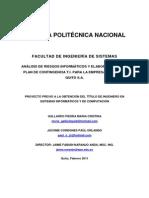 Analisis de Riesgos Informaticos en Empresa Ecuador