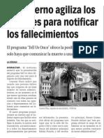 150317 La Verdad CG- El Gobierno Agiliza Los Trámites Para Notificar Los Fallecimientos p.8