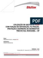 Utilização de Geotêxtil Bidim Com Função de Separação, Filtração, Proteção e Barreira de Sedimentos, Trecho Sul Rodoanel - Sp (Tecnico)